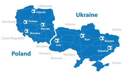 Poland and Ukraine vector map. Separate layers.
