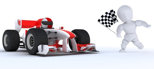 Man in Race car winning at chequered flag