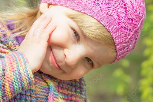 Lovely smiling baby girl face