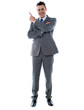 Businessman in suit pointing at copyspace