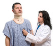 Patient is being observed by doctor after neck surgery isolated