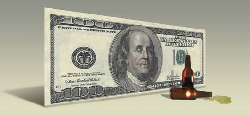 US Hundred Dollar bill with Drunken Ben Franklin