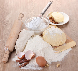 Ingredients for the dough wooden table