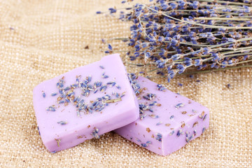 Hand-made lavender soaps on sackcloth