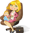 Business mom with baby boy in an office chair