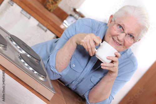 Senior woman enjoying a cup of tea