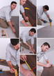 Man installing hard-wood flooring