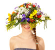 Beautiful girl with hat of flowers