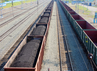 Train with coal at railway station