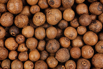 Background texture of whole allspice(jamaica pepper). Macro.