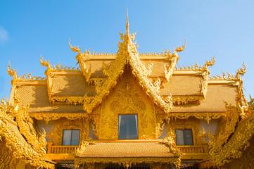 Gold details of temple platform