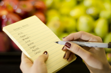 Closeup of female hands going through shopping list