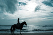A woman horse riding on the beach.