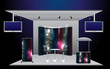 Vector Blank trade exhibition stand counter, roll-up banner