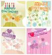 Happy birthday background - floral set