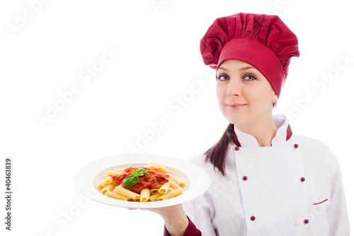 Chef with pasta plate in her hands