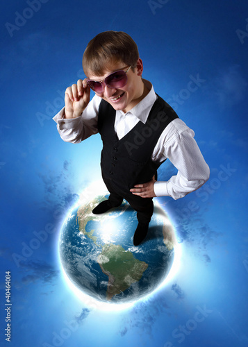 Young businessman and our planet earth