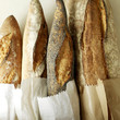 Selection of fresh Italian rustic bread, one with poppy seeds