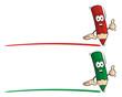 Pencil Red Green Underline