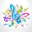 3d colorful music notes vector background eps 10