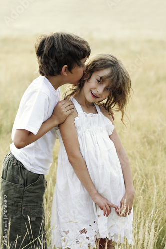 Boy kissing girl