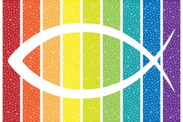 Ichthys Symbol bunt, gemustert