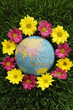 Globe on grass surrounded by flowers