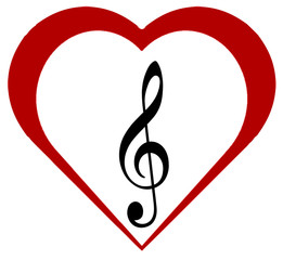 Red Hearts with Clef