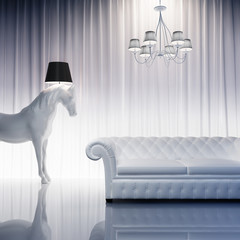 Vintage baroque modern chic atmpspheric interior horse horse