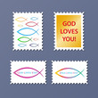 ICHTHYS colourful vector stamp set