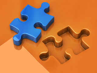 3d illustration of jigsaw puzzle