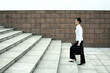Businesswoman with briefcase walking up the stairs