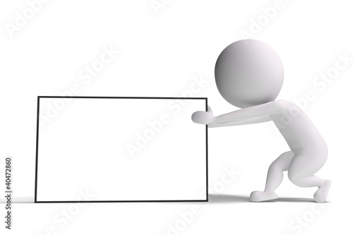 3d human pulls an advertising billboard on white background