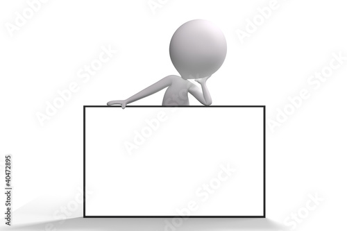 3d human white advertising billboard on white background