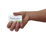 Note in Woman Hand Thank you