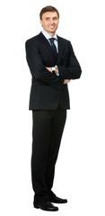 Smiling businessman, over white