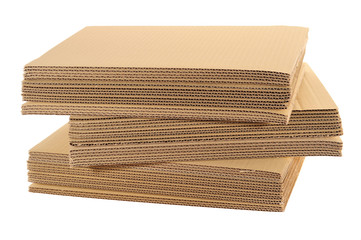 Stack Of Corrugated Board Isolated On White Background