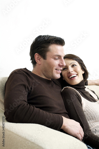 Couple resting on the couch