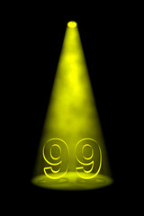 Number 99 illuminated with yellow spotlight
