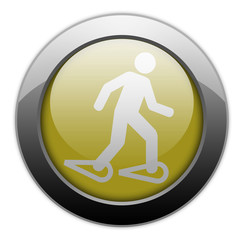 "Yellow Metallic Orb Button ""Snowshoeing"""