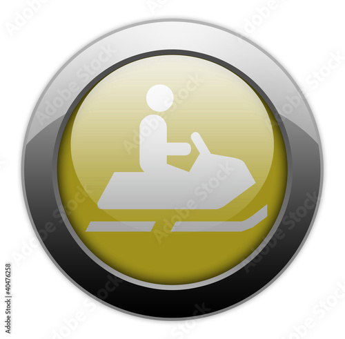 "Yellow Metallic Orb Button ""Snowmobiles"""