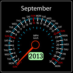2013 year calendar speedometer car in vector. September.