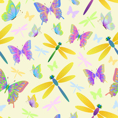 seamless pattern with butterflies and dragonflies