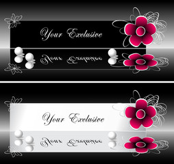 Exclusive labels  banners with red flower and pearls