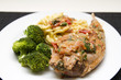Braised rabbit with noodles and broccoli