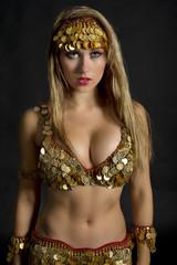 Portrait of a seductive blonde belly dancer