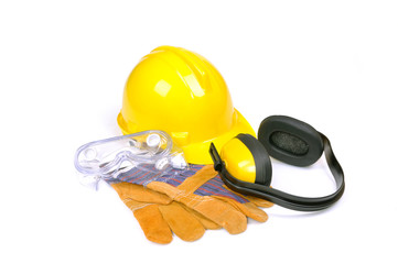 protective equipment on white
