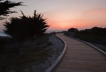 Sunset over a walkway through sand dunes at Asilomar State Park