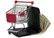 Shopping cart with wallet and money. Buy concept