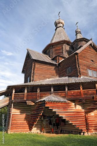 aging wooden chapel in village